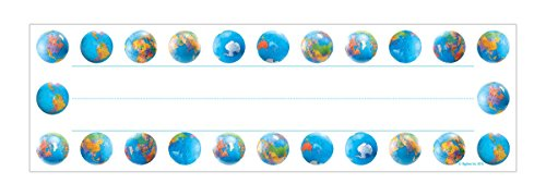 Sport Kids Bulletin Board - Hygloss Products Globes Kids Name Plates for Desks Cubbies Lockers – 9.5 x 2-7/8 Inch, 36 Pack