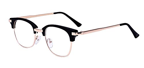 c07afbc36 ALWAYSUV Retro Metal Semi-Rimless PC Clear Lens Unisex Glasses Eyewear  Black Frame
