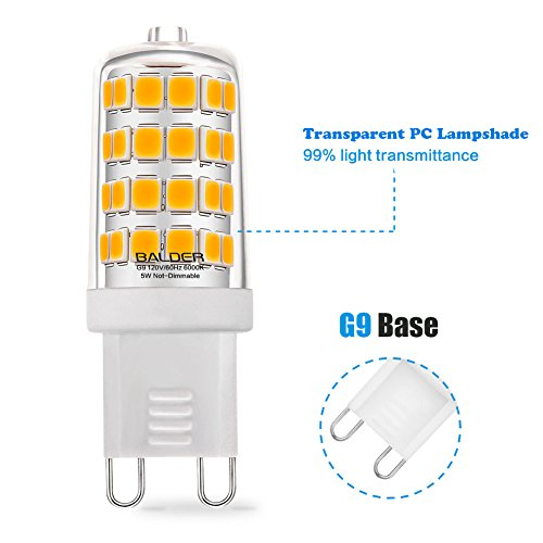 BALDER-Dimmable-G9-LED-Bulb-6W-60W-Halogen-Bulb-Replacement-Warm-White-3000K-Bi-Pin6-Pack