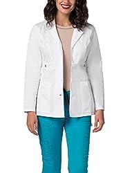 "Adar Pop-stretch Junior Fit Women's 28"" Tab-waist Lab Coat"" - 3300 - White - L"