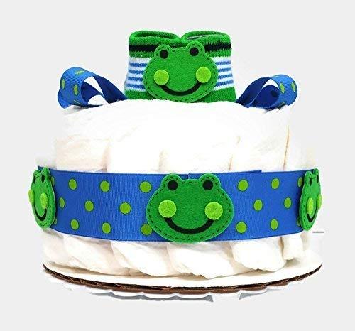 Frog One Tier Baby Boy Diaper Cake Baby Shower Centerpiece
