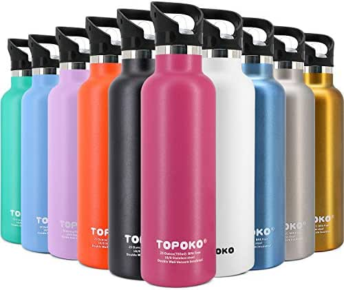 TOPOKO 25 OZ Hydro Double Walled Wall Flask Stainless Steel Metal Water Bottle Straw Lid with Handle or Bite Valve Top Vacuum Insulated Leak Proof Reusable Bike Standard Thermos Blue Black