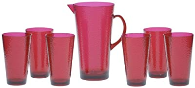 Certified International 7-Piece Hammered Glass Acrylic Hammered Drinkware Set, Ruby