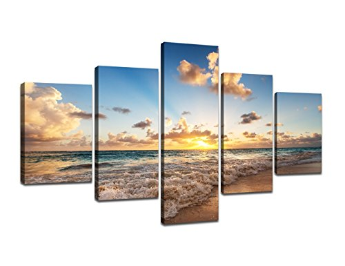 - Beautiful Extra Large Modern Seascape Sunset Wave Beach Painting on Canvas 5 Panels Combination, Landscape Pictures Wall Art for Living Room Home Decor Wooden Framed Stretched (70''W x 40''H)