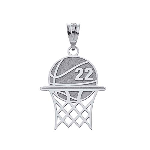 - Sports Charms Sterling Silver Personalized Basketball Hoop Pendant with Your Name and Number
