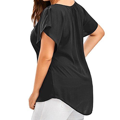 Forti Manica Gyratedream Elegante Pizzo Casual Magliette Top Donna T Corta Estate Camicetta V Taglie Chiffon A Blusa Sexy Sciolto Scollo Maglia Nero Shirt qrtp8r1waI