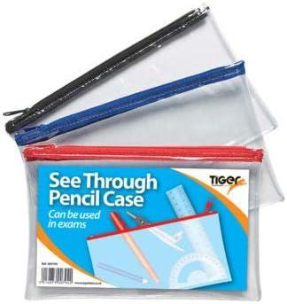 Tiger - Estuche para lápices (tamaño pequeño, 3 unidades), varios colores, color negro, azul, rojo: Amazon.es: Oficina y papelería