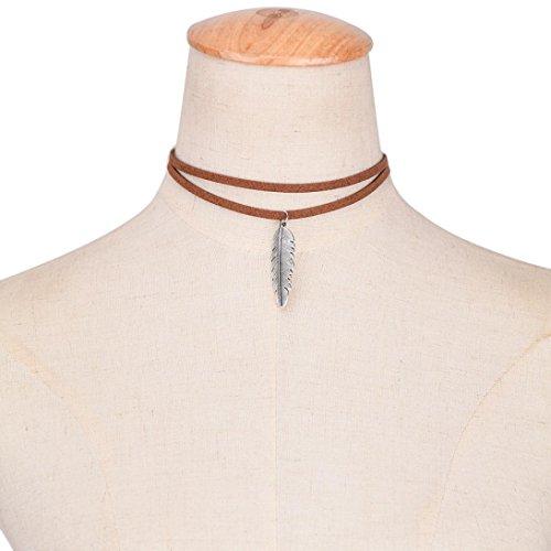 Fheaven Women Leaf-shaped Pendant Necklace Fashion Double Leather Cord Necklace (Shaped Cognac)