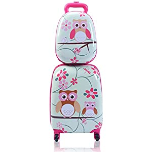 Goplus 2Pc Kid Luggage, 12″ & 16″ Kids Carry On Luggage Set, Carry On Spinner Luggage Set for Boys and Girls