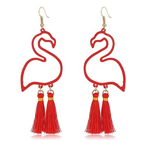 HSWE Tassel Earrings Flamingo Dangle Earrings for Women Short Fringe Drop Earrings Fashion Bohemian Summer Jewelry (Bright red)