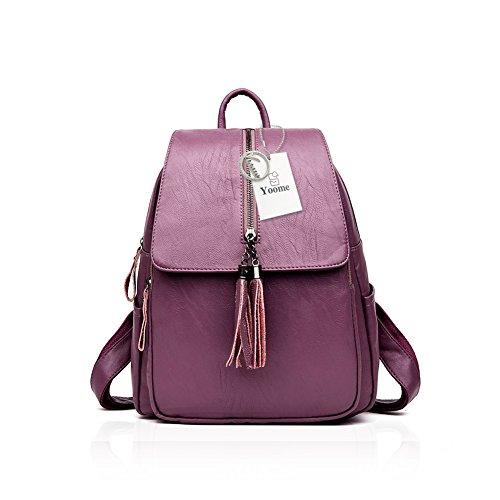 Yoome Mochila de cuero lavado con borlas con cremallera Flapover Bookbag Bolso de hombro Casual Daypack Negro Púrpura