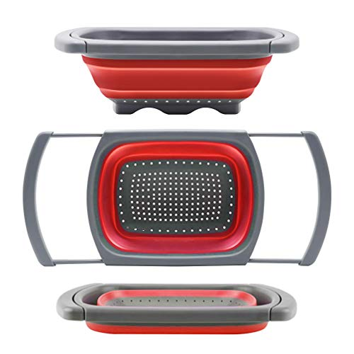 Qimh Colander collapsible, Colander Strainer Over The Sink Veggies/Fruit Strainers and Colanders with Extendable Handles, Folding Strainer for Kitchen, 6-Quart, BPA Free(Red)