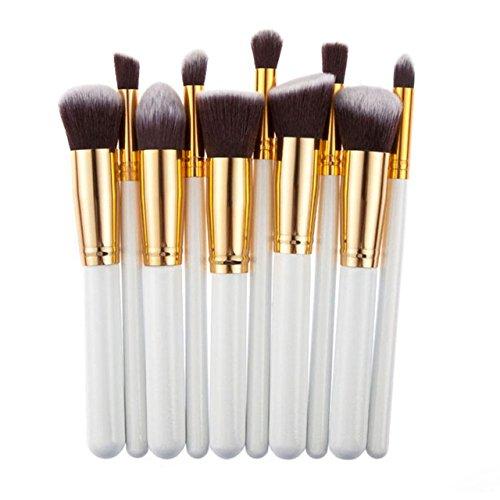Foundation Brush Cosmetic brush - 10 Pcs Silver/Golden Makeup Brush Set pincel maquiagem Cosmetics Foundation maquillaje Makeup Tool Powder Eyeshadow Cosmetic Set - Makeup Brushes -