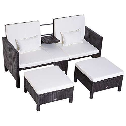 (Outsunny 3 Piece Loveseat and Nested Ottoman Outdoor Furniture Set with Adjustable Armrest)