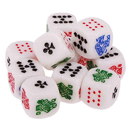 - STORE-HOMER - Sale Acrylic Pack of 10pcs 12mm Six Sided Poker Dice for Casino Poker Card Fun Family Pub Game Favours Multicolor Dice Toys