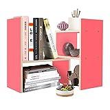 DL furniture Expandable Wood Desktop Storage Organizer Multipurpose Desk Bookshelf Display Shelf Rack Counter Top Bookcase for Office Home | Pink