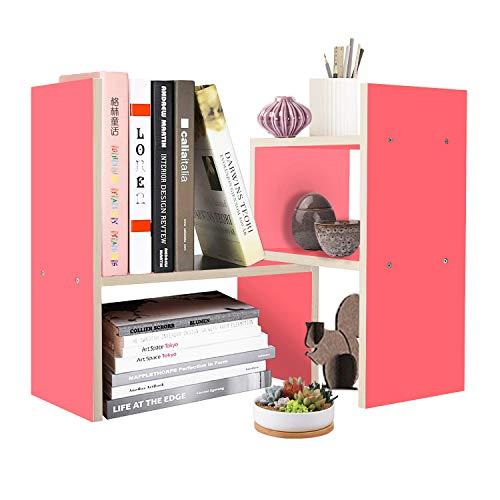 Purpose Wood Multi Organizer Desktop (DL furniture Expandable Wood Desktop Storage Organizer Multipurpose Desk Bookshelf Display Shelf Rack Counter Top Bookcase for Office Home | Pink)