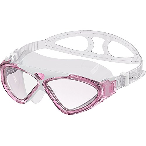 OutdoorMaster Swim Mask - Wide View One-Piece Swimming Goggles with Super Leakproof Design, 100% UV Protection, Anti-Fog Coating & Free Protective Case - for Men, Women & Youth Pink