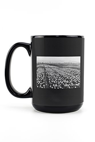 llingham Tulip Fields Photograph (15oz Black Ceramic Mug - Dishwasher and Microwave Safe) ()