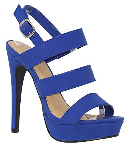 MVE Shoes Women's Open Toe Strappy High Heel Sandals, Calm Cobalt 6.5 (Cobalt Blue High Heels)