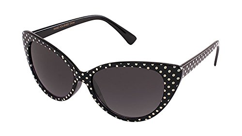 MJ Eyewear Black Cat Eye Women Sunglasses Vintage Fashion (POLKA DOT BLACK/WHITE, BLACK) ()