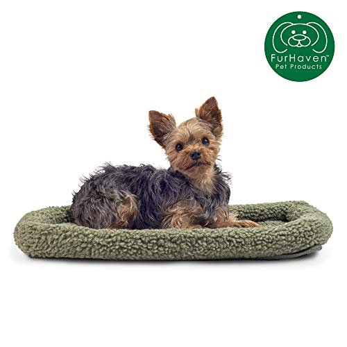 Furhaven Pet – Snuggly Soft Bolster Dog Bed & Tufted Crate Pillow Dog Cushion for Dogs & Cats – Multiple Styles, Sizes…