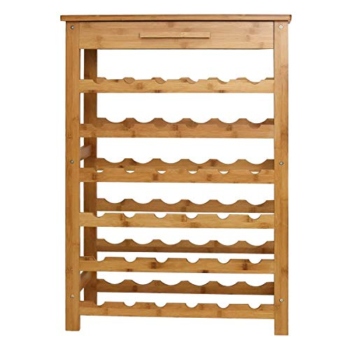 Peach Tree Bamboo Wine Standing Rack Storage with Drawer (36-Bottle)