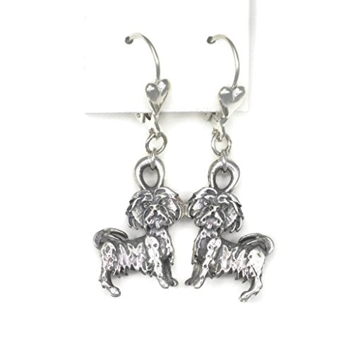 Sterling Silver Shih Tzu Earrings, Silver ShihTzu Earrings, Silver Shih-Tzu Jewelry, Fine ShihTzu Jewelry from Donna Pizarro's Animal Whimsey Collection Shih Tzu Earring