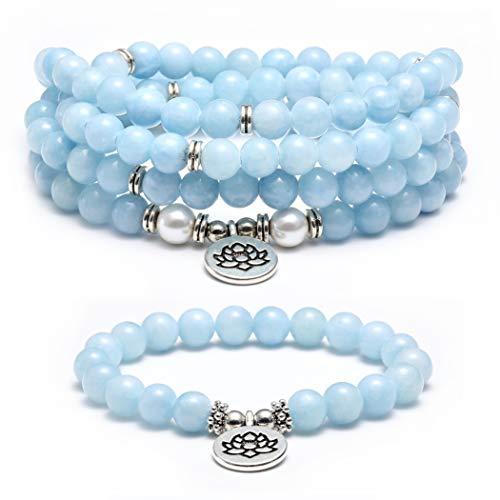 SOOWOOT 8mm Natural Amazonite Beads Healing Gemstone 108 Mala Beads Wrap Bracelet Necklace for Yoga Charm Bracelet Jewelry for Women Men
