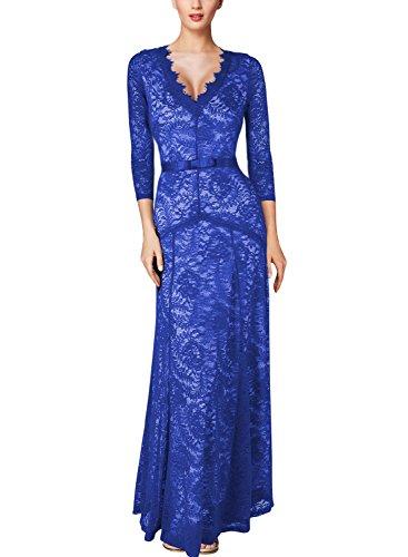 Miusol® Women's Floral Lace 2/3 Sleeves Long Bridesmaid Maxi Dress (Small, Blue)