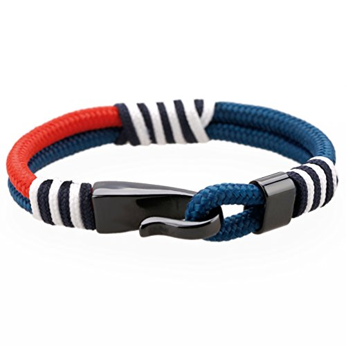 MEITS Nautical Rope Bracelet With Stainless Steel Anchor and Colorful Rope-Anchor Bracelet-Unisex Bracelet-Sailor Bracelet - Great Jewelry Gift Idea for Men & Women (20.0)
