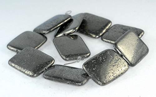 - 40X30MM Iron Pyrite Gemstone Rectangle Loose Beads 8''