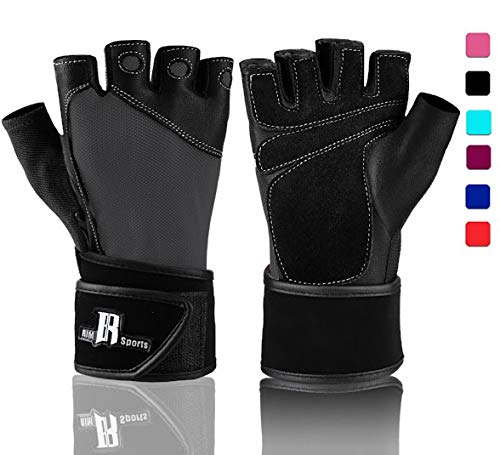 Gloves Premium Cycling (RIMSports Weight Lifting Gloves with Wrist Wrap - Best Lifting Gloves - Premium Weights Lifting Gloves, Rowing Gloves, Biking Gloves, Training Gloves, Grip Gloves (Dark Gray, XS))