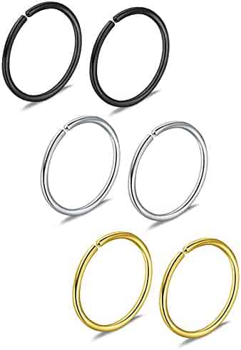 Ruifan 3prs Non Pierced Stainless Steel Clip on Closure Round Ring Fake Nose Lip Helix Cartilage Tragus Ear Hoop 20G