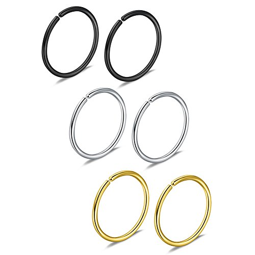 Ruifan 3prs Non Pierced Stainless Steel Clip on Closure Round Ring Fake Nose Lip Helix Cartilage Tragus Ear Hoop 20G 8mm Mix Color