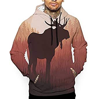 Amazon.com: Hoodies Sweatshirt Pockets Moose,Antlers in
