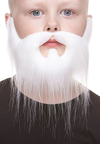 Mustaches Fake Beard, Self Adhesive, Novelty, Small Nomad False Facial Hair, Costume Accessory for Kids, White Color