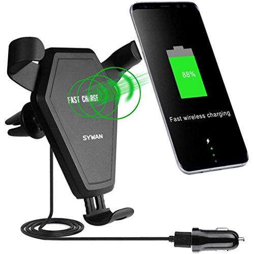 Fast Wireless Charger,Sywan Car Mount 2-in-1 Charing pad for Qi Enable Devices ,Samsung Note 8/ 5,Galaxy S8/ S7/ S7 Edge/ S6 / S6 Edge and iPhone X,iPhone 8/ Plus