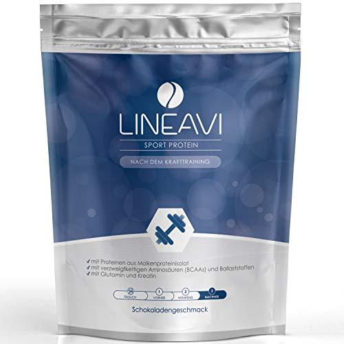 LINEAVI Sport Protein, mit Eiweiß aus Molkenproteinisolat, BCAA, Ballaststoffen, Glutamin, Kreatin, nach dem…