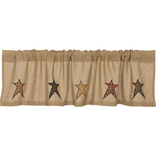 (VHC Brands Primitive Kitchen Window Curtains - Stratton Tan Burlap Applique Star Valance)