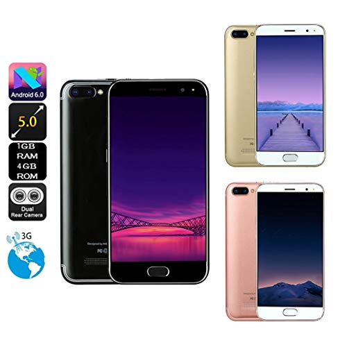 (New 5.0 inch Dual HD Camera Android 6.0 1G+4G GPS 3G Call Mobile Phone inch 4G Unlocked Smartphone, Dual SIM Slots, Android 1G RAM + 4G ROM Expansion Memory 32G, Touchscreen HD 854 x 480 (Black))