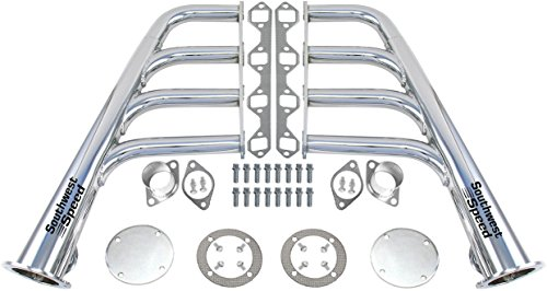 NEW SOUTHWEST SPEED CHROME-PLATED LAKE STYLE HEADERS FOR SMALL BLOCK FORD 260-351 WINDSOR & GT40P V8 ENGINES, 1 5/8