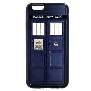 "UniqueBox - Customized Black Soft Rubber(TPU) iPhone 6+ Plus 5.5 Case, Doctor Who Tardis Blue Police Call Box iPhone 6 Plus case, Only fit iPhone 6+ (5.5"")"