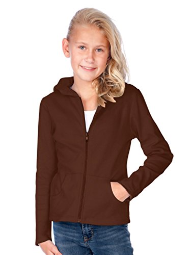(Kavio! Big Girls 7-16 Long Sleeve Zip Hoodie Brown M)