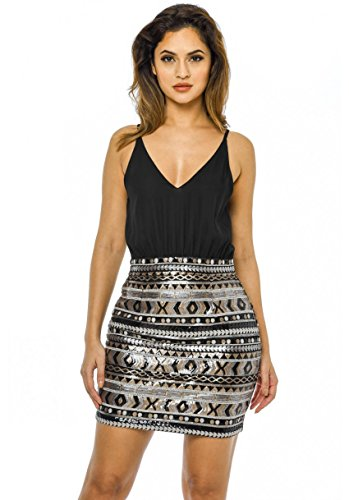 Buy black 2 in 1 sequin skirt dress - 1