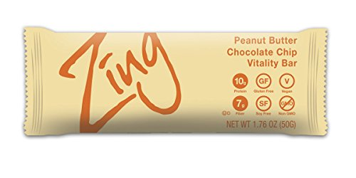 Zing Nutrition Bar, Peanut Butter Chocolate Chip, (Pack of 12), Non-GMO Snack Bar for Optimum Energy, Gluten & Soy Free, Plant-Based Protein