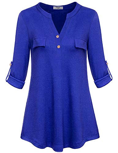 Cestyle Ladies Blouses and Tops for Work,Womens Split V Neck 3/4 Sleeve Tunics Blouse for Leggings Fall Fashion Royal Blue Henley Shirts Petite Slenderizing Top with Fake Pockets New Chic Medium
