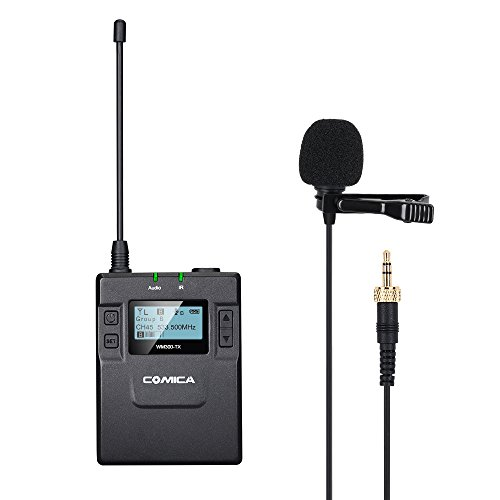 Comica UHF 96-channel Zinc Alloy Single Chargable Wireless lavalier Transmitter for WM300 Microphone System connect Canon 5DII/5DIII, 6D, Panasonic GH4/GH5,XLR Camcorder Camera (394-Foot (Camera Uhf Wireless System)