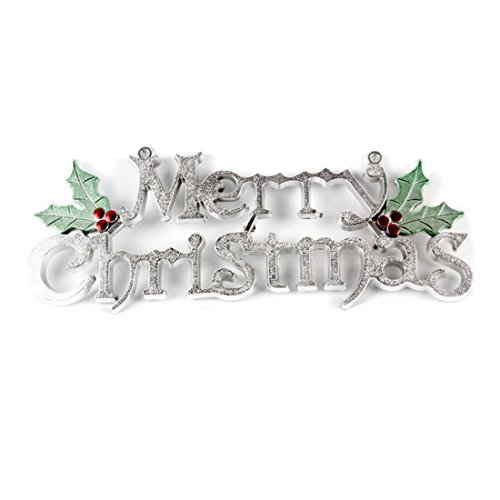 Choeko Gold and Silver Merry Christmas Door Tag Concise Good-looking A classic Christmas greeting(40CM, Silver)