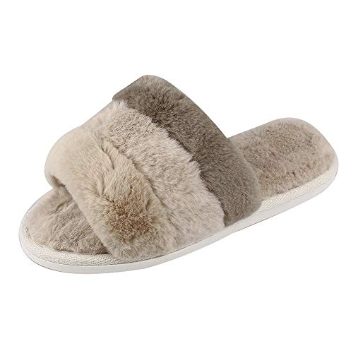 MK MATT KEELY Women Slippers Stripe Non-Slip Open Toe Autumn and Winter Indoor and Outdoor Couple Shoes Warm Khaki 6-7.5 M by MK MATT KEELY